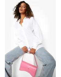 Boohoo Curved Rectangle Waved Shoulder Bag - Pink