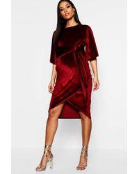 Boohoo Maternity Velvet Kimono Sleeve Tie Waist Midi - Red