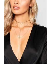 Boohoo - Coin Plunge Layered Necklace - Lyst