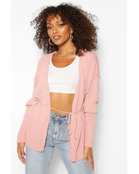 Boohoo Tall Oversized Wrap Around Cardigan - Rosa