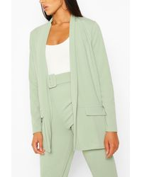 Boohoo - Tailored Blazer And Self Fabric Belt Trouser Suit - Lyst
