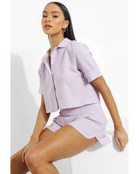 Boohoo Gingham Crop Woven Shirt - Purple