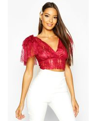 Boohoo Lace Bow Strap Bralet - Red