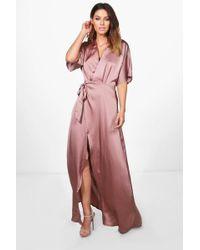 Boohoo - Boutique Satin Kimono Maxi Dress - Lyst