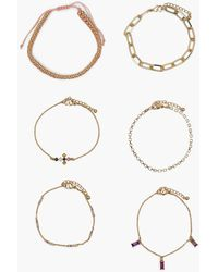 Boohoo Pastel Rainbow Drop Gem Bracelet Pack - Metallic