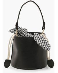 Boohoo Micro Mini Check Tie Bucket Bag - Black