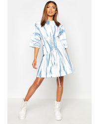 Boohoo Womens Tie Dye Corset Detail Oversized T-shirt Dress - Blue - 4