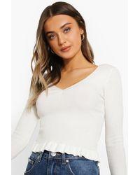 Boohoo Womens Pullover Mit Rüschensaum - Weiß