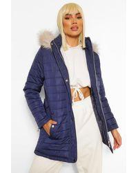 Boohoo Faux Fur Trim Hooded Belted Puffer Coat - Blue