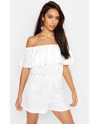 Boohoo Ruffle Bardot Linen Look Playsuit - Blanc