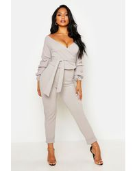Boohoo Wrap Rouche Top & Pants Co-ord Set - Gray
