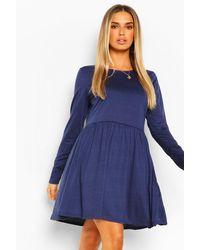Boohoo Round Neck Long Sleeve Skater Dress - Blu