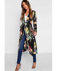 Boohoo Dark Tropical Floral Belted Kimono - Black