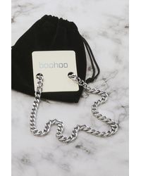 Boohoo Silver Stainless Steel Curb Chain Necklace - Grigio