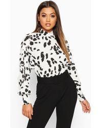 Boohoo Womens Hochgeschlossene Bluse Mit Klecksmuster - Weiß