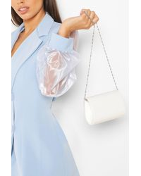 Boohoo Mini Structured Patent Clutch Bag And Chain - White