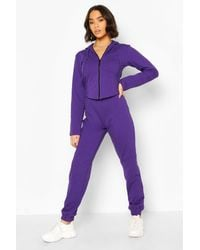 Boohoo Fitted Zip Through Tracksuit - Purple