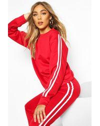 Boohoo Conjunto De Pantalones De Correr Con Rayas Laterales - Rojo
