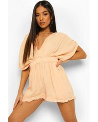 Boohoo Petite Cheesecloth Plunge Romper - Natural