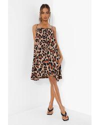 Boohoo Leopard Print Swing Dress - Neutro