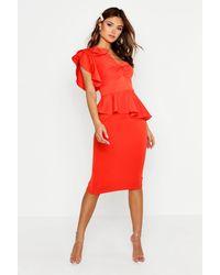 Boohoo One Shoulder Twist Front Peplum Midi Dress - Orange