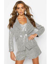 Boohoo Womens Zweireihiger Blazer aus Tweed mit Pailletten - Schwarz