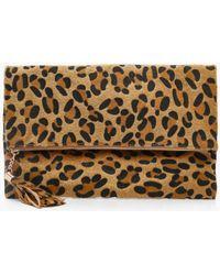 Boohoo Pony Leopard Foldover Clutch Bag