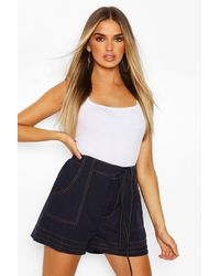 Boohoo Woven Contrast Stitch High Waist Belted Shorts - Azul