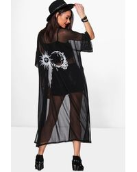 Boohoo Sun And Moon Mesh Kimono - Black