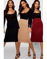 Boohoo Womens 3 Pack Basic Jersey Midi Skirt - Purple