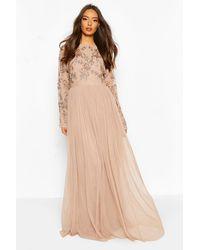 Boohoo Bridesmaid Hand Embellished Long Sleeve Maxi Dress - Multicolour