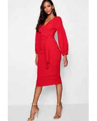 Boohoo Tall Off The Shoulder Wrap Midi Bodycon Dress - Red