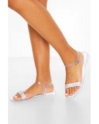 Boohoo Clear Diamante Strap Square Toe Jelly Sliders - White
