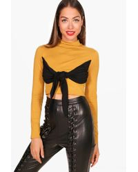 Boohoo   Sara Tie Knot Front Detail High Neck Top   Lyst