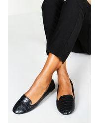 Boohoo Wide Fit Tab Top Slipper Ballets - Black
