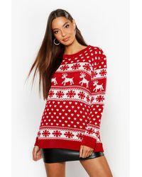 Boohoo Womens Weihnachtspullover mit Rentier- und Schneeflockenmotiv - Rot