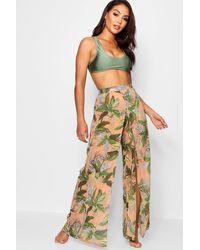 Boohoo Tropical Split Leg Beach Trousers - Orange