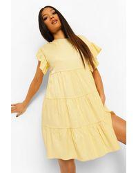 Boohoo Petite Mini Smock Dress - Amarillo
