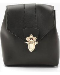 Boohoo Womens Mini Lock & Ring Pu Rucksack - Black - One Size