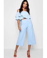 Boohoo Conjunto De Falda Pantalón Y Top Palabra De Doble - Azul