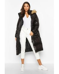 Boohoo Womens Tall Gefütterter Longline Mantel mit Kapuze aus Kunstpelz - Schwarz