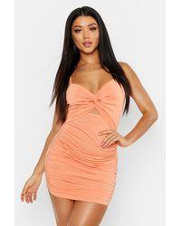 Boohoo Rouche Knot Front Bodycon Mini Dress - Orange
