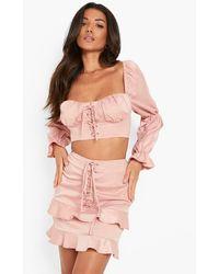 Boohoo Matte Satin Lace Up Sweetheart Corset - Pink