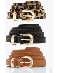 Boohoo 3 Pack Skinny Belt - Multicolor