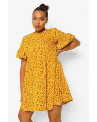 Boohoo Vestido Estilo Blusón Tejido Con Estampado De Florecillas Plus - Amarillo
