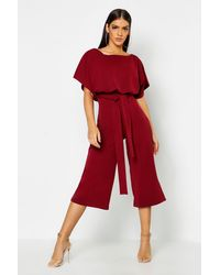 Boohoo Slash Neck Tie Waist Culotte Jumpsuit - Bianco