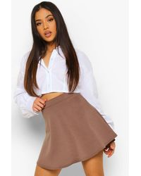 Boohoo Petite Skater Skirt - Brown