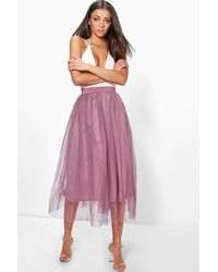 Boohoo Tall Boutique Tulle Mesh Midi Skirt - Purple