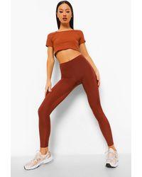 Boohoo Basic Disco Leggings - Brown