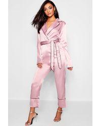 b83742a84f6f Boohoo - Tall Pyjama Style Belted Satin Culotte Jumpsuit - Lyst